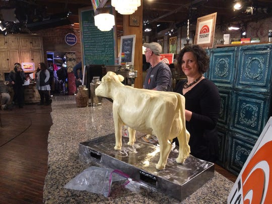 "Iowa State Fair Butter Cow sculptor Sarah Pratt of West Des Moines sculpted a 40-pound Jersey for the ""Today"" show at West End Architectural Salvage."