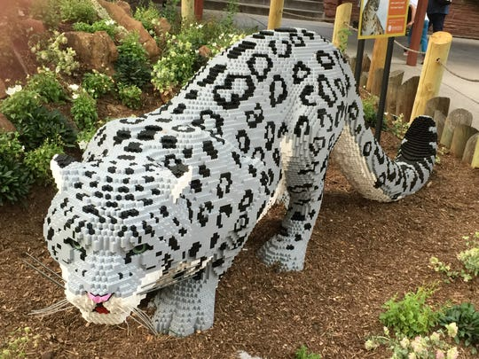 A LEGO snow leopard on display at the Louisville Zoo.