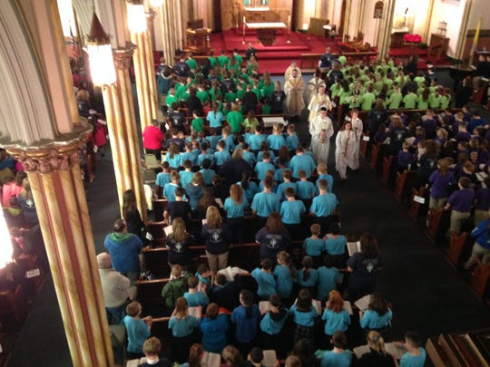 Students and staff from seven  area Catholic schools