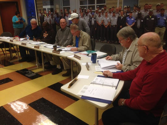 Rutherford County Road Board members talk before the start of their Monday meeting.