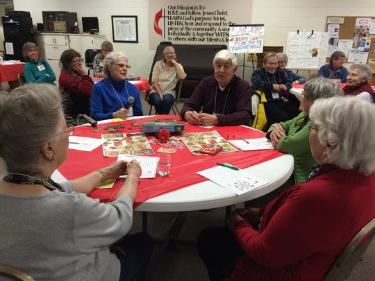 People who came to Monday's Memory Cafe event at the United Methodist Church shared their favorite Valentine's Day memories.