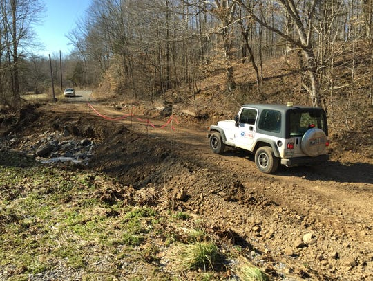Stewart County Highway Department crews made a temporary