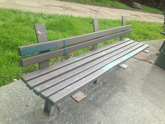 Benches are missing slats and graffiti-ed in Natividad