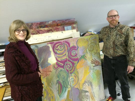 Margot Jones and Eric Nelson show one of the works they created together shortly after they first met.
