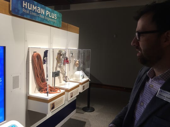 """Marcos Stafne, executive director of the Montshire Museum of Science, talks about the museum's exhibit """"Human Plus."""""""