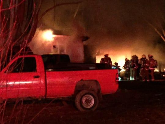 Fire destroys a house at 250 S. Union St., Lucas. on
