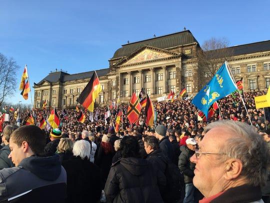 A PEGIDA rally in Dresden, Germany, on Feb. 6.  [Via