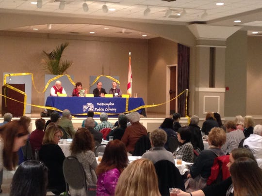 Authors talk on a panel at the annual Murder on the Menu event in Wetumpka Sunday.