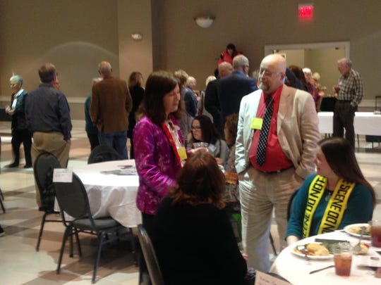 Authors talk with guests annual Murder on the Menu event in Wetumpka Sunday.