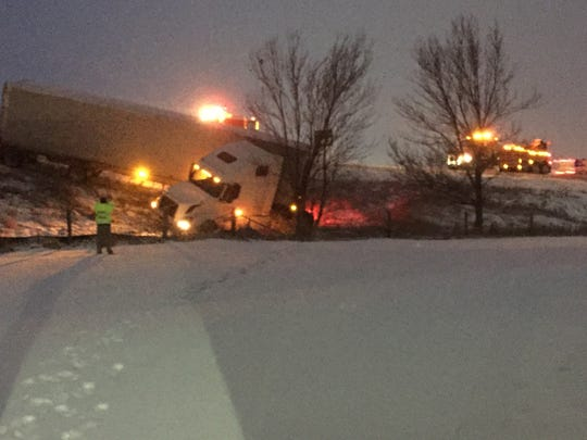 A semi-truck went off the road near the ramps at Highway