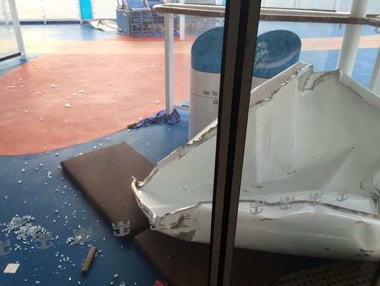 Some of the damage to Royal Caribbean's ship Anthem