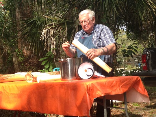 Jim English demonstrates how to prepare swamp cabbage at the Alva Museum in early February.