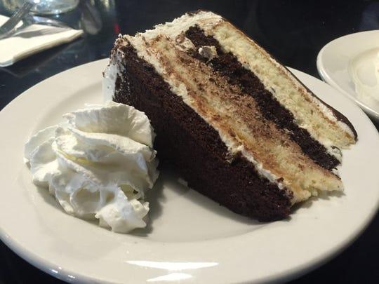 A slice of cannoli cake.