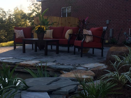 The Parke family's yard and patio after Executive Landscaping