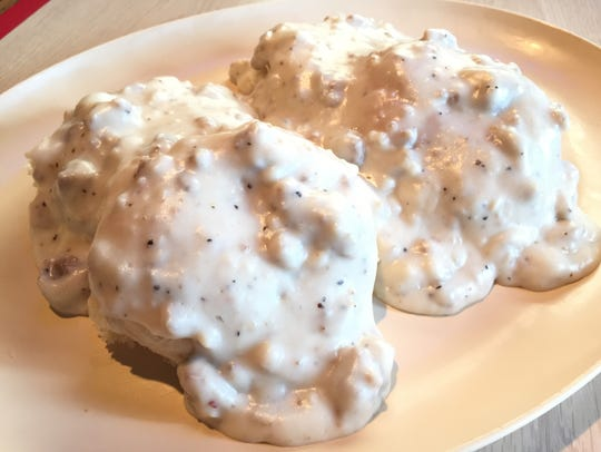 Made-from-scratch biscuits with sausage gravy is a