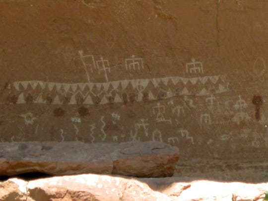 A panel of petroglyphs is pictured in May 2014 at Natural Bridges National Monument. The monument could be incorporated into the proposed Bears Ears National Monument, if President Barack Obama approves a petition filed by several Native American groups.