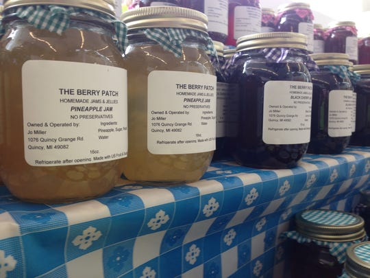 Jams and jellies from The Berry Patch in Quincy were being sold at the Marshall Area Farmers Market at Oaklawn Hospital in Marshall Wednesday.