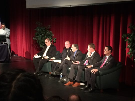 Panelist speak during the Mental Unhealth of Violence talk at Cal State San Bernardino's campus in Palm Desert.