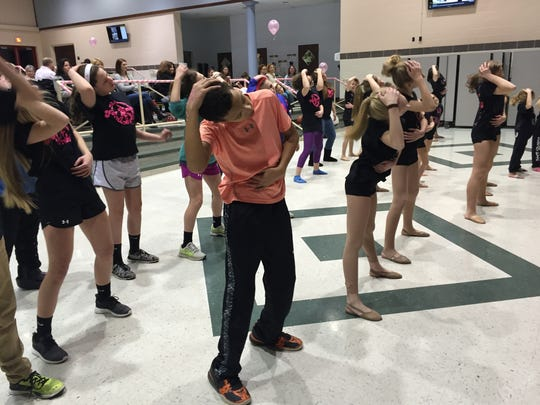 Kids at Hanover Middle School dance to the instructions of Lauren Seigman on Feb. 19, 2016. Seigman, owner of School of Music and Dance studio in Abbottstown, was helping raise money for the For Emma Dance-a-Thon, held annually in honor of Emma Martinez, a Hanover High School graduate who died in a 2003 car crash.