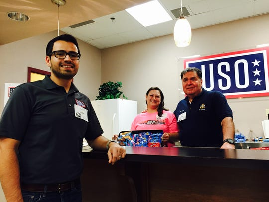 From left, Robert Medrano, the operations and programs manager for USO El Paso, and volunteers Candace Hvizdak and Al Avila want new recruits to feel welcome at the new USO location at the El Paso MEPS.