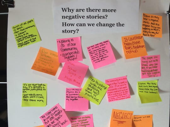 """High school students used sticky notes to answer questions such as """"Why are there more negative stories? How can we change the story?"""""""