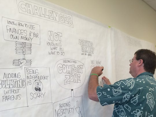 Artist Doug MacGregor helps students get their thoughts on paper during a student summit hosted by FutureMakers at Hodges University in Fort Myers.