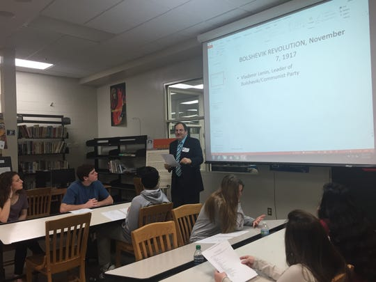 "Florida State University history professor Jonathan Grant leads a lesson in Russian history to Lincoln high-schoolers as a part of the ""Two Regimes"" project earlier this month."