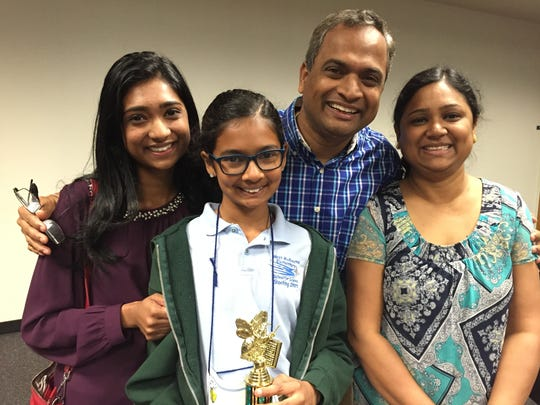 Stuti, left, Dhyana, Tapas and Sasmita Mishra attended the 57th annual Brevard County Spelling Bee. Dhyana placed second.