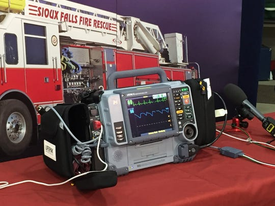 A Physio Control LifePak 15 cardio monitor defibrillator displayed at the Sioux Falls Fire Rescue headquarters in Sioux Falls.