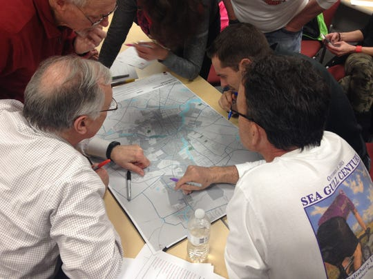Cyclists take part in a workshop for Salisbury's new bikeways master plan.