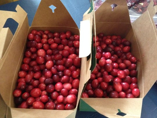 Cranberries from the Vermont Cranberry Co. in Fletcher, for sale at the Burlington Farmers Market in February.