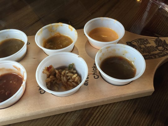The Lost Cajun gives first-time visitors a flight of gumbo samples.