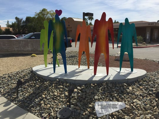 """The sculpture, """"Joined at the Heart,"""" created and donated by Karen & Tony Barone sits near the front of  Desert Arc in Palm Desert. Wednesday, March 2, 2016."""