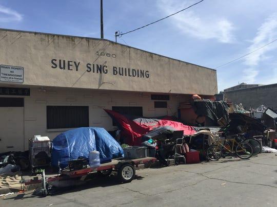 Homeless encampments on Soledad Street in Chinatown.
