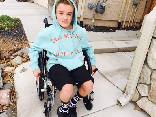 Tristin Hurley in his rented wheelchair Wednesday.