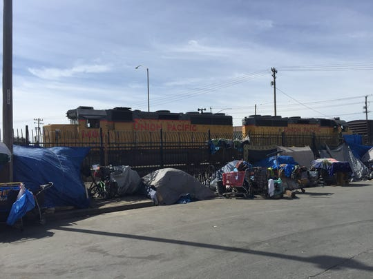 A homeless encampment in Salinas' Chinatown.