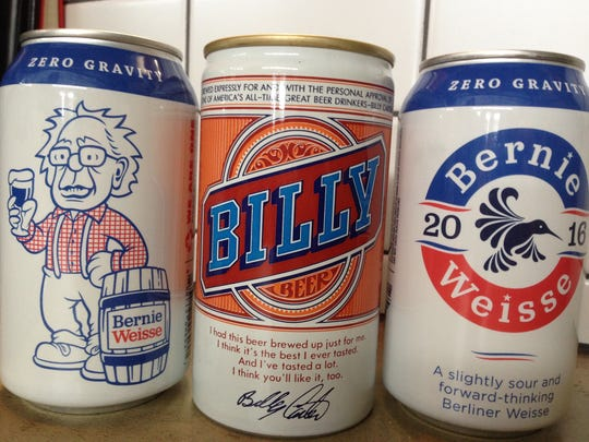Cans of Bernie Weisse, made in appreciation of Bernie Sanders, flank Billy beer, a 1970s beer promoted by Billy Carter, brother of President Jimmy Carter.
