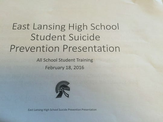 A PowerPoint on suicide prevention basics was delivered by 50 mental health professionals at the high school.