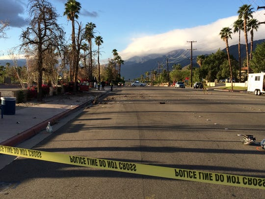 Indian Canyon Drive was shut down at Via Escuela while Palm Springs police investigated a crash that seriously injured two people early Sunday.