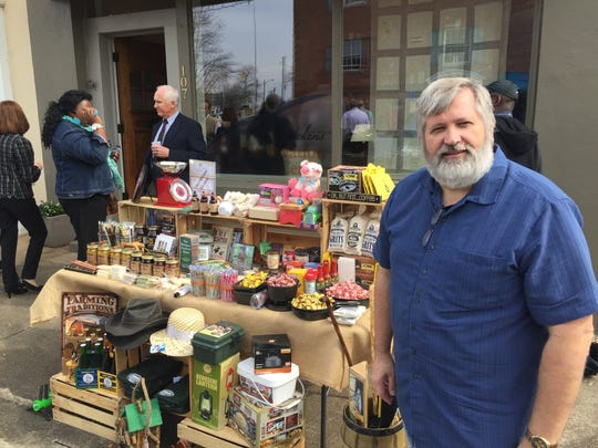 """Mark Burgess, owner of Burgess General Store in Pickens, displays a sample of his wares at the Pickens Innovation Center Commercialization Day """"Launch"""" on Monday."""