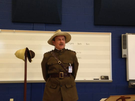 David Shuey portrays General John Pershing for Chambersburg students at Chambersburg Area Senior High School.