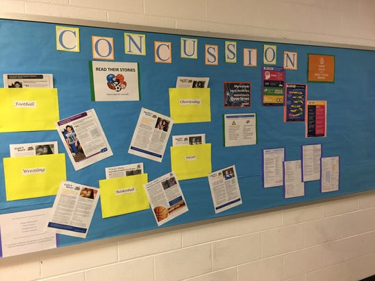 A bulletin board with information on concussions put together by Eastern Mennonite University nursing students hangs in the hall opposite the athletic training room at Fort Defiance High School .