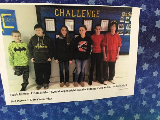 """Students at Beverley Manor Middle School can win the """"No Challenge too Great"""" award and have their picture taken and posted on a wall in the lobby of the school."""