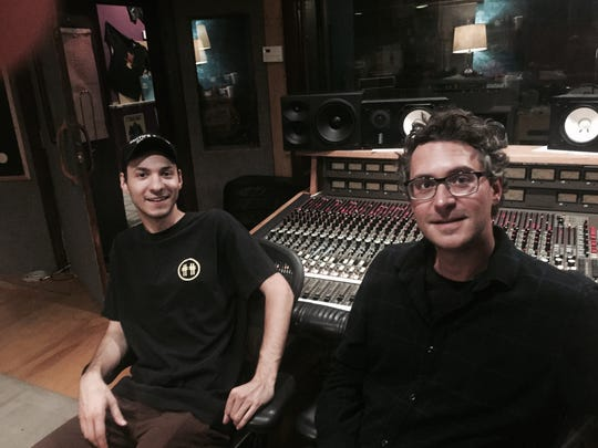 "Jason Pine (left) and Trevor Cushing, the director and producer, resptively of ""Desert Age: A Rock and Roll Scene History,"" are seen at the Unit A Recording & Arts Studio in Palm Springs, where many desert rockers have recorded since the early 1990s."