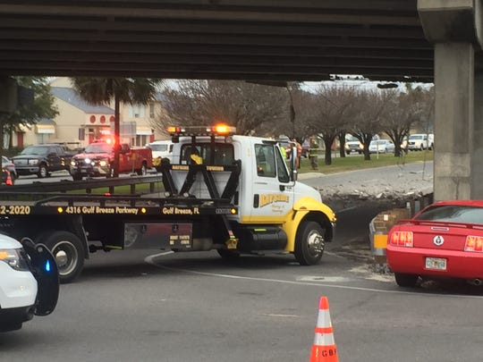 The Pensacola Beach overpass was struck by a vehicle this afternoon.Traffic in both directions was shut down.