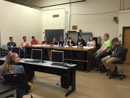 Twelve former Governor's School students speak to junior engineering students on Friday about college and applying for jobs in the engineering field.