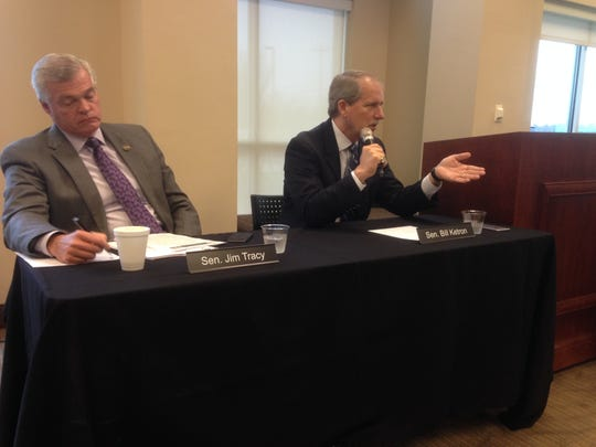 State Sen. Bill Ketron, right, talks about transportation issues before an audience at the Rutherford County Chamber of Commerce. Ketron is sponsoring a bill that seeks to establish private-public partnerships for economic development of mass transit, such as a monorail he favors to be built in the median of Interstate 24 to help commuters travel from Murfreesboro to Nashville.