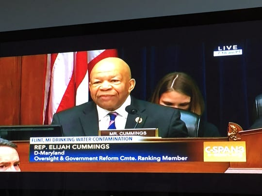 Rep. Elijah Cummings (D.-Maryland) raised questions on Tuesday, March 16, 2016 about the role of state officials in Michigan concerns the Flint water crisis during congressional hearings on Capitol Hill in Washington, DC.