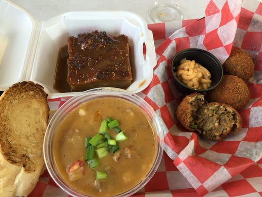 Boudin balls, crawfish etouffee and bread pudding with