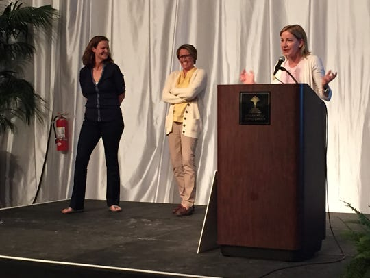 From left, former tennis pros Pam Shriver, Mary Carillo